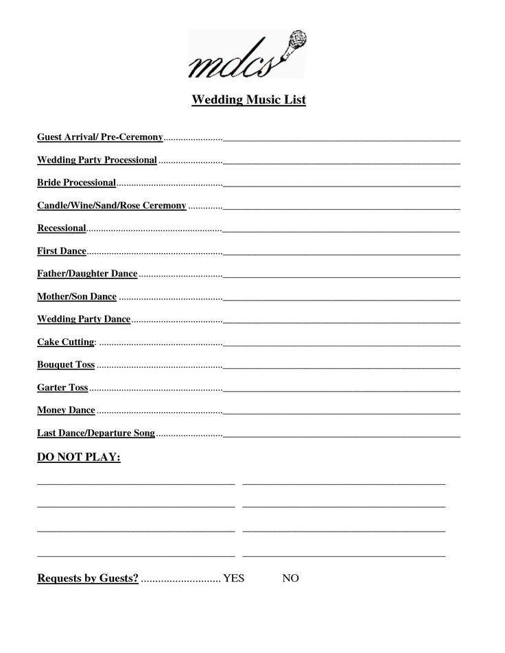 Wedding Party List Template Free | FosterHaley Wedding Music List