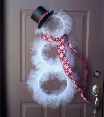 DIY Embroidery Hoop + Tulle Snowman DIY Christmas HomeDecor Decor Decorate Decorations