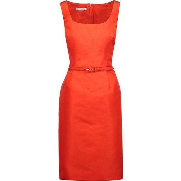 Oscar de la Renta - Belted Silk-satin Twill Dress (1,155 CAD) ❤ liked on Polyvore featuring dresses, bright orange, bright dresses, oscar de la renta, red dress, bright colored dresses and bright orange dress