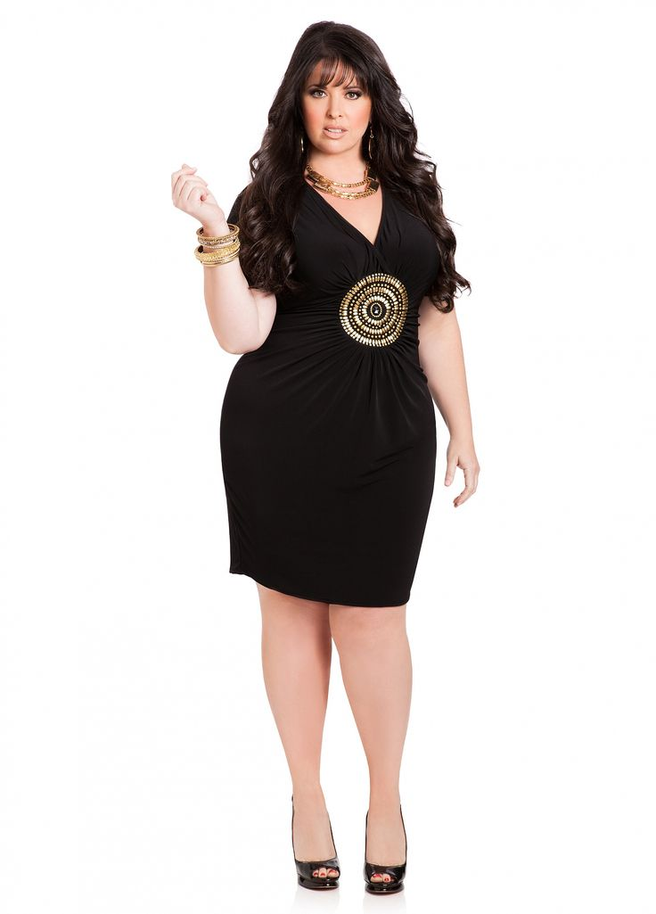 Ashley Stewart Gold Medallion Little Black Dress Little