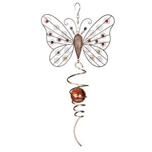 Red Carpet Studios Rustic Element Cyclone Hanging Yard Art, 20-Inch Long, Butterfly