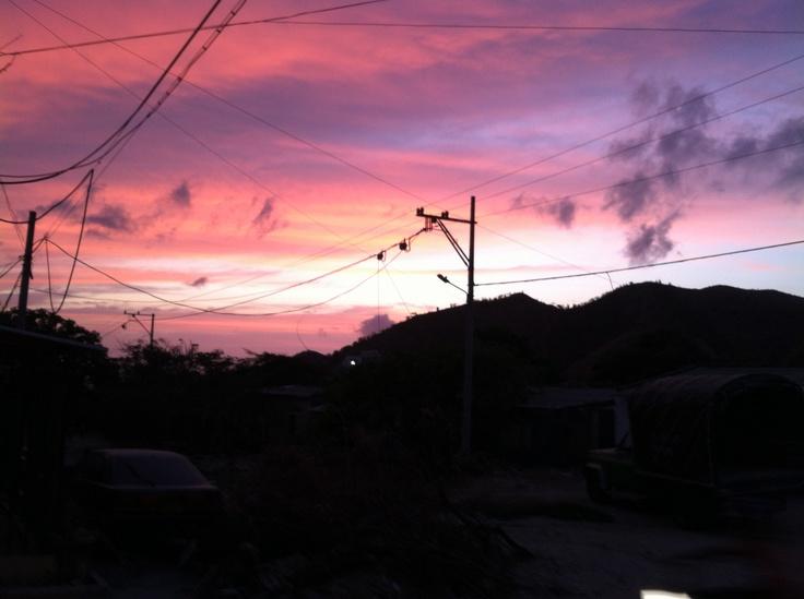 Shiny pink sunset in Taganga (April 2012)