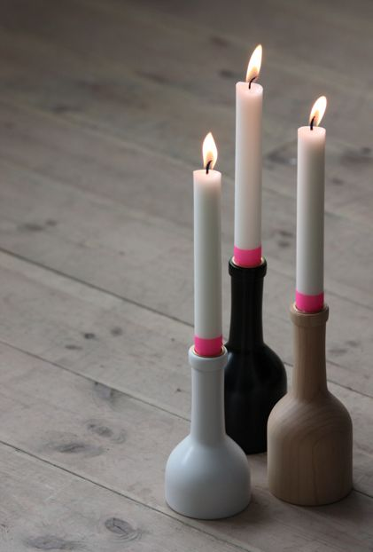Clever idea: candles with neon masking tape. Candlesticks available from Nordic Blends webshop (NL)