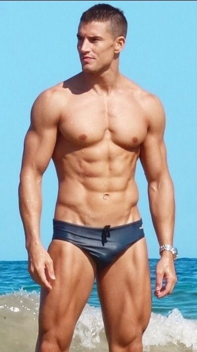 5803deb079c7 Muscle stud with small sexy VPL bulge in his wet Speedos. More hot men  @Adamb18
