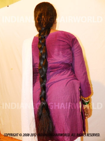 Long Hair Model of the Month October 2012. Darshana with her long, healthy & thick below thigh length hair in Beautiful Braid