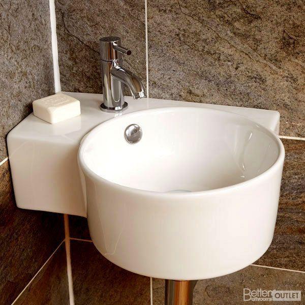 Bathroom Sink Wash Basin Wall Mounted Hung Corner Ceramic Bowl Circle Right Hand Designerbathroomsi Wall Mounted Basins Corner Sink Bathroom Small Toilet Room