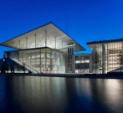 Visitors are guided through the Stavros Niarchos Foundation Cultural Center, designed by the Renzo Piano Building Workshop