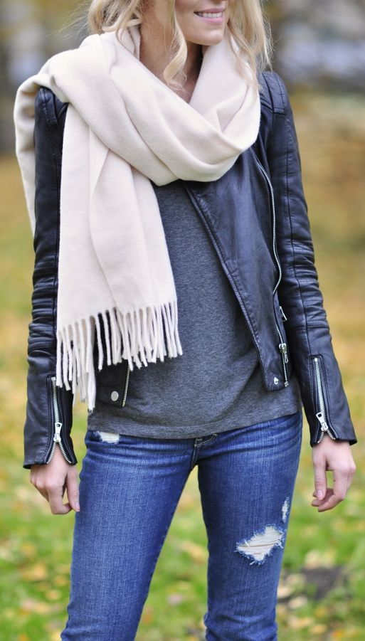 Cream Fringed Cashmere Scarf by Make Life Easier