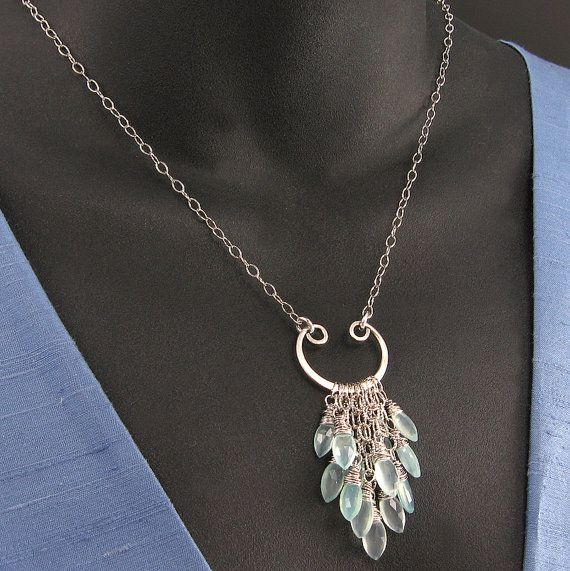 Aqua Chalcedony Necklace, Sterling Chain, Wire-Wrapped Briolettes, Wirework Focal