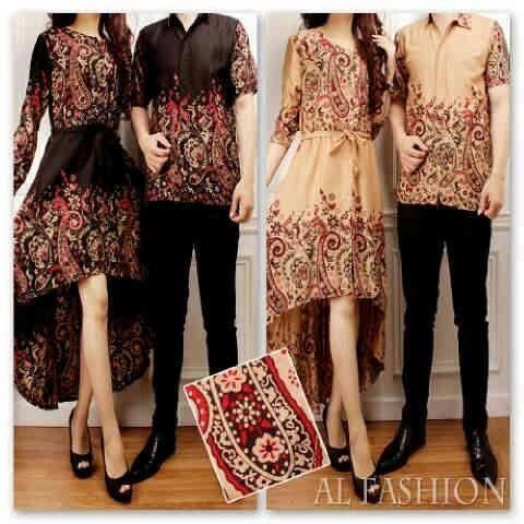 Baju gamis muslim couple batik jessica KM219