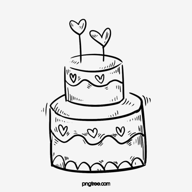 رسمت باليد أسود خط الرسم عيد ميلاد كعكة صغيرة التوضيح زفاف كعكة الحب Cupcake Illustration How To Draw Hands Cake Decorating Tips