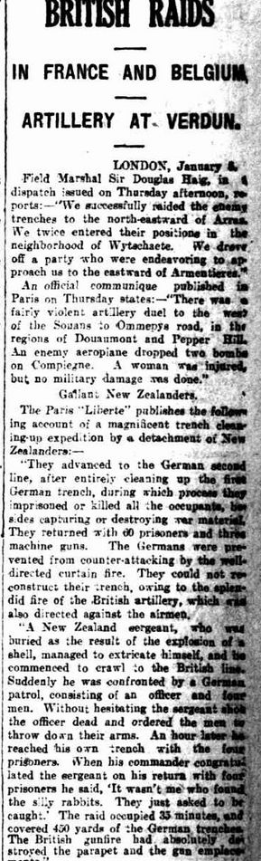 """WWI, 6 Jan 1917; """"Fairly violent artillery duel in the regions of Douaumont and Peper Hill"""" -The Advertiser, Adelaide"""
