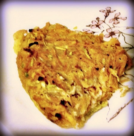 Sweet Potato and Zucchini Kugel -  an unusual combination and a yummy one.......
