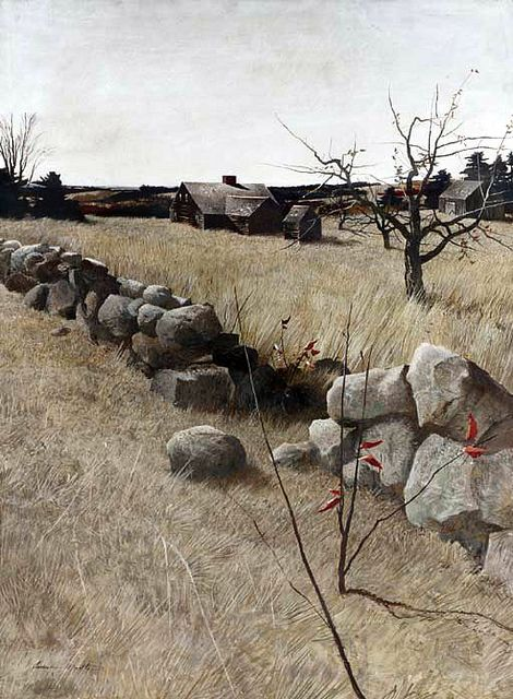 Andrew Wyeth 'The Stone Fence' tempera on panel by Plum leaves, via Flickr