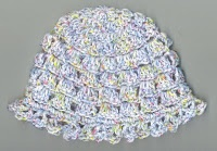 Baby Hat Pattern      Here is pattern for a baby hat:        Baby Hat Pattern:      F Hook    Baby Yarn      Chain 3, form a ring.      Row 1: ch 3 (counts as dc) , 11 dc in ring, slip stitch on top of ch 3    Row 2: ch 3, dc in same stitch, *2 dc in next stitch* repeat around, slip stitch on top of ch 3    Row 3: ch 3, 2 dc in next stitch, *dc in next stitch. 2 dc in next stitch* repeat around, slip stitch on top of ch 3    Row 4: ch 3, dc in the next stitch, 2 dc in next stitch, *dc in the next two stitches, 2 dc in the next stitch* repeat around, slip stitch on top of ch 3    Row 5: ch 1, sc in same stitch, ch 3, skip 2 stitches, *sc in next stitch, ch 3 skip 2 stitches,* repeat around, slip stitch with first sc.    Row 6: slip stitch into ch 3 space, chain 3, 3 dc in same ch 3 space, ch 1, *4 dc in next ch 3 space, ch 1* repeat around, slip stitch with top of ch 3 - 16 dc groups    Row 7: ch 4, sc in next ch 1 space, *ch 3, sc in next ch 1 space* repeat around, slip stitch with first chain of ch 4.      Rows 8 - 13: repeat rows 6 and 7    Row 14: ch 1, sc in the same stitch,*4 sc in ch 3 space, sc in sc* repeat around, slip stitch with first sc      Row 15: ch 7, dc in 3rd chain of ch 7, dc in first stich, *skip next 2 stitches, in next stitch (dc, ch 3, dc in top of dc just made, dc in same stitch as first dc)* repeat around, slip stitch with 3rd chain of ch 7.      Finish off. Weave in ends.