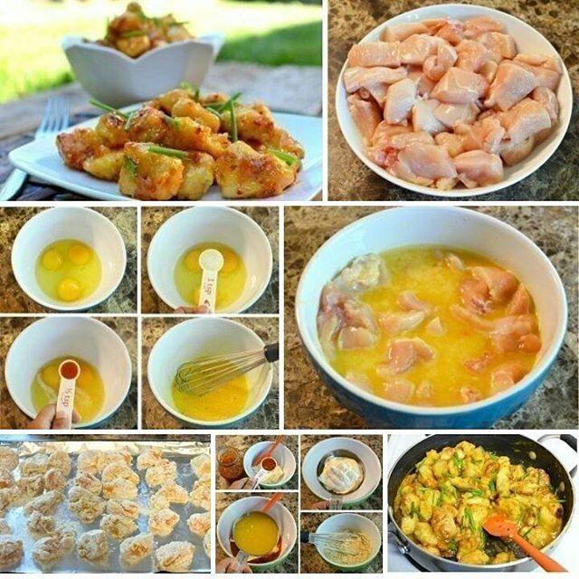Курица приготовленная в соке апельсина  Рецепт с секретным ингредиентом, который сделает курицу еще сочнее и мягче. Вам понравится!  Ингредиенты для приготовления:  Для курицы:  2 большие куриные грудки (нарезать на небольшие кусочки); 3 яйца; 2 чайной ложки чесночной соли (приправы); чайная ложка любого острого соуса (например, тобаско); 1 чашка муки; 0.5 чайной ложки перца;  Для соуса:  полчашки майонеза; 4-5 столовых ложек остро-сладкого соуса; цедра половины апельсина; полчашки…