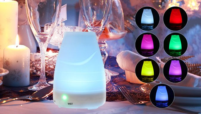 Buy 7-Colour LED Humidifier for just £18.99 Add a little humidity to your room with the7-Colour LED Humidifier      Keeps your living space humid; aims to help prevent colds/flu and congestion      Shuts off automatically when water runs out      Light button switches between colours or stays on the colour of your choice      Working time: 3 hours in continuous mode, or 6 hours in...