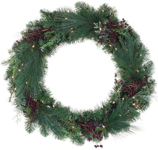 decorative wreaths savannah mixed pine battery operated led wreath warm white lights christmas lights etc - Christmas Wreaths With Lights