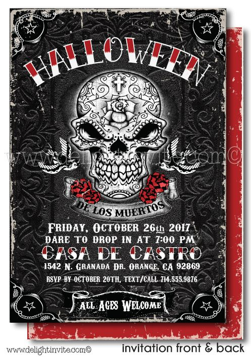 Adult Halloween Party Invitations Part - 45: Day Of The Dead Halloween Invitations, Dia De Los Muertos Theme Halloween  Invites, Printed Adult Halloween Party Invites