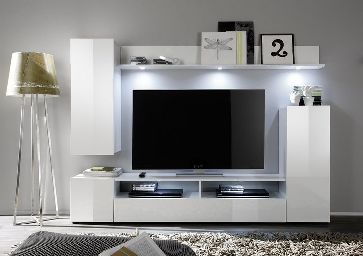 Furnline 1396-945-01 Dos High Gloss TV Stand Wall Unit Living Room Furniture Set, White: Amazon.co.uk: Kitchen & Home