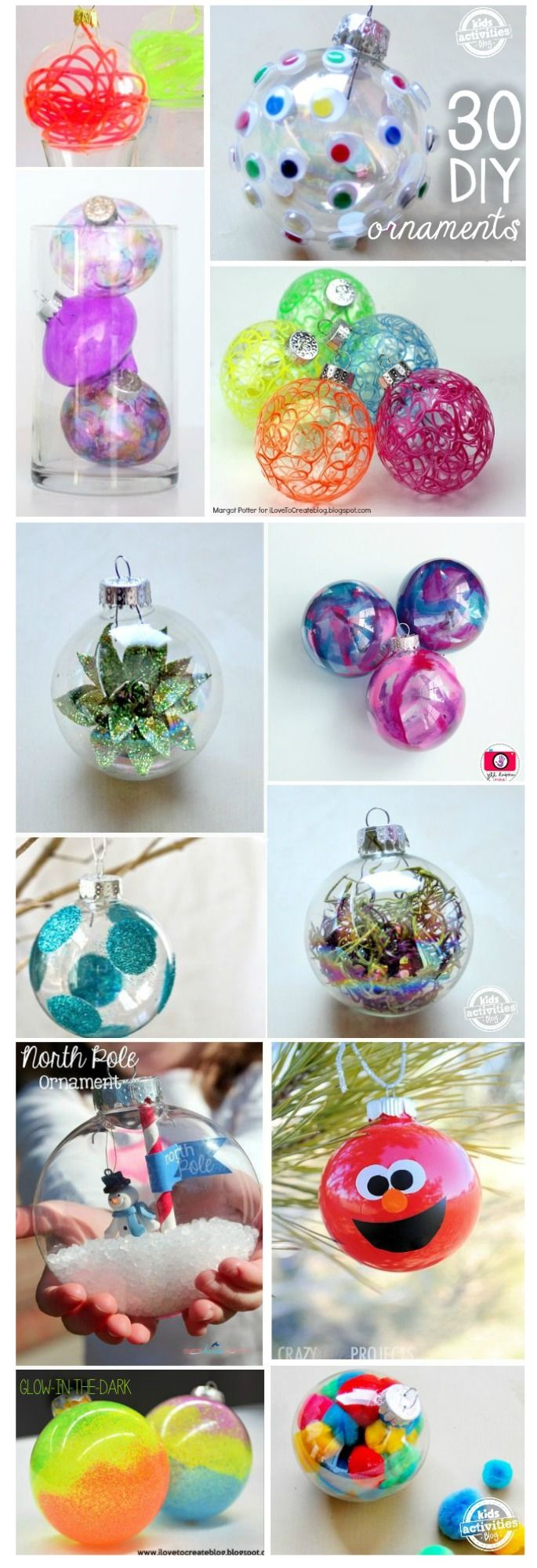 30 Genius Ways to Fill & Decorate Glass Christmas Ornaments...love these so much from Kids Activities Blog.