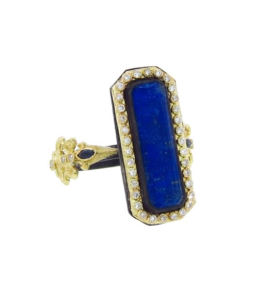 Rich lapis in a highly detailed setting is luxurious and distinctive.  Armenta ring, $1,880