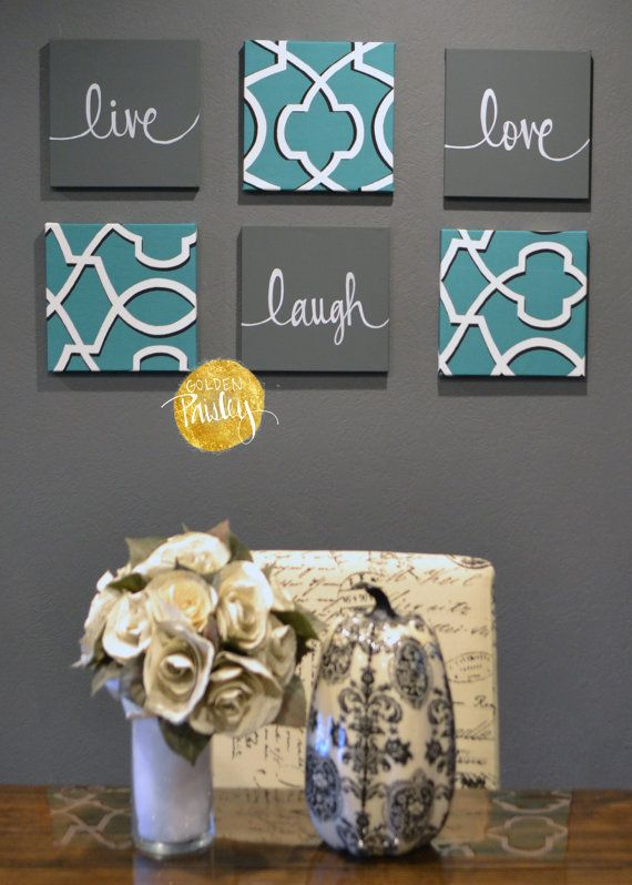 Eat Drink Be Merry Wall Art Pack Of 6 Canvas Wall Hangings Painting 6 Canvas Set Dining Room Decor Modern Teal Charcoal Gray Gallery Wall