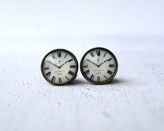 Clock studs earrings- tiny ear stud - Clock -Watch earrings - clock earrings- everyday earrings - Minimalism- modern - grey white black