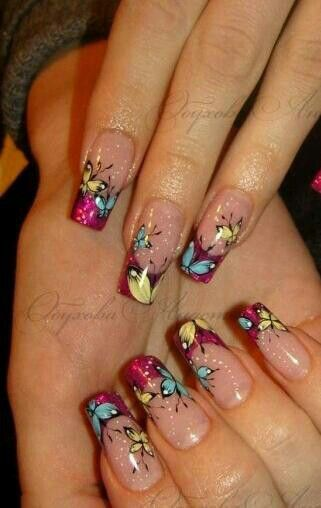 Butterfly nails how pretty.....