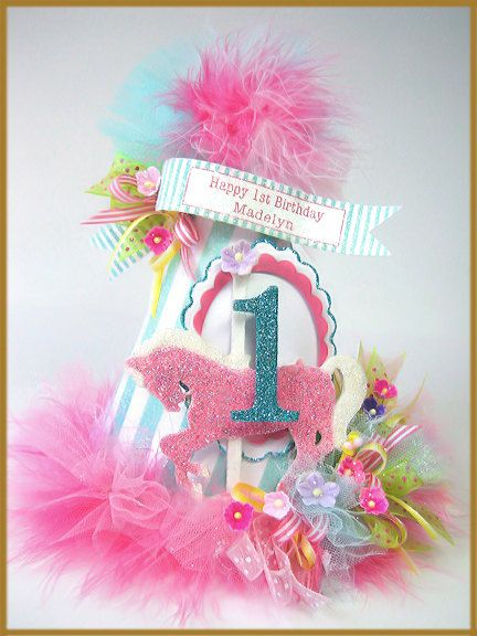 Carousel Pink Pony Birthday Hat Cake by PatriciaMinishDesign