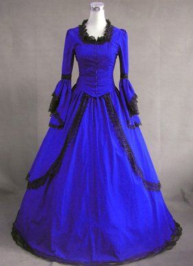 Royal Blue Vintage Victorian Dress for Sale