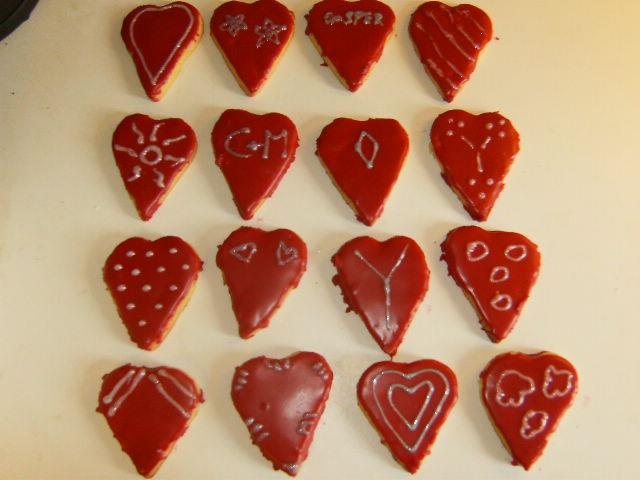 Heartshaped decorated cookies.