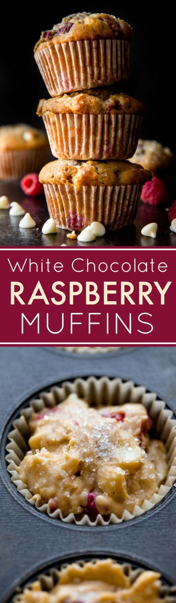 Delicious white chocolate raspberry muffins with big raspberries in every single bite! Recipe on sallysbakingaddiction.com