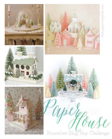 Variations on a paper house; printable at http://nicholeheady.typepad.com/capture_the_moment/2013/11/november-blog-hop-challenge.html