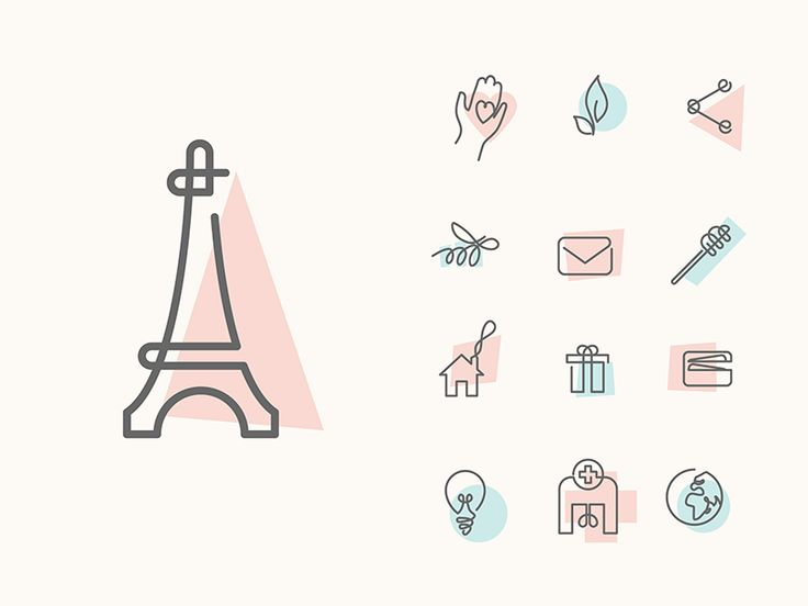 Single line icons - like how these are offset with a color block.