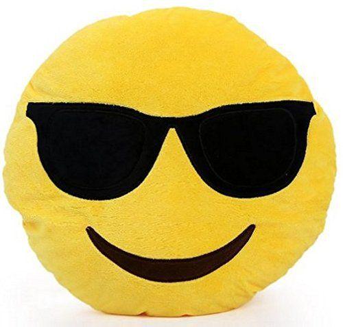 CITY Emoji Coussin Rond Avec Lunettes Solaires Lunettes Fumées et Visage Souriant En Peluche Oreiller: Taille: 32*10*32 cm Poids: 270g Vous…