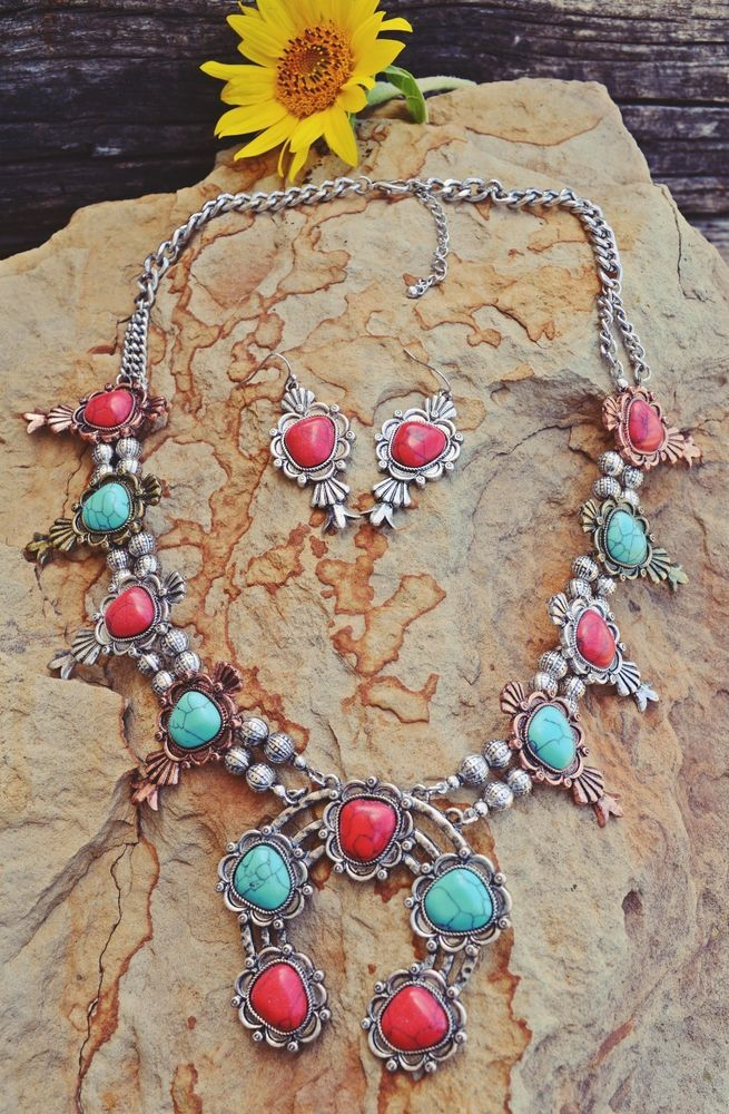 COWGIRL Bling Southwest Turquoise SQUASH BLOSSOM Western Gypsy NECKLACE SET…