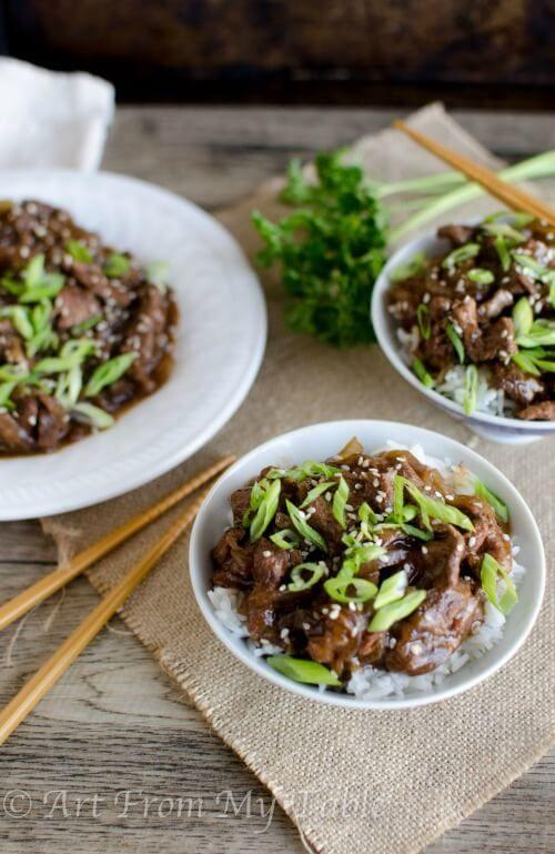 Slow cooker mongolian beef recipe via ArtFromMyTable.com