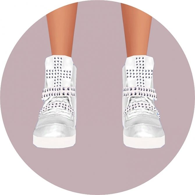 Female cross-stud high top sneakers at Marigold • Sims 4 Updates