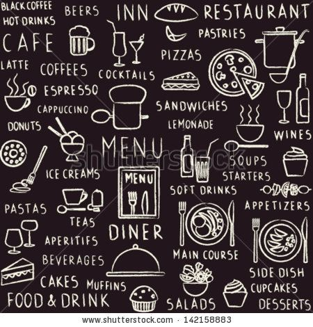 Vector seamless pattern background with hand drawn food, drink and restaurant menu elements on blackbord by Aleksandra Novakovic, via ShutterStock