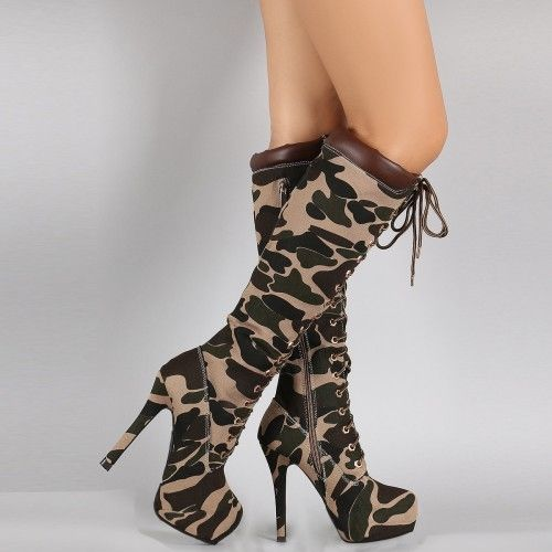 139.00$  Watch now - http://alia4r.worldwells.pw/go.php?t=32720212764 - Camouflage Canvas Women Boots Lace Up 2016 Botas Mujer Fashion ladies Party Shoes Zapatos Mujer Shoes Botines Mujer 139.00$