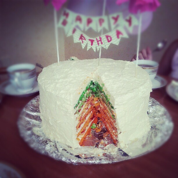 Rainbow cake for my mother by me)