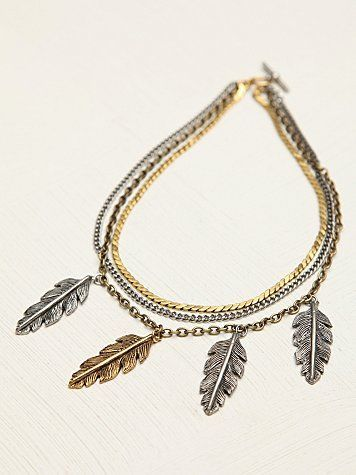 Free People Triple Chain Charm Collar
