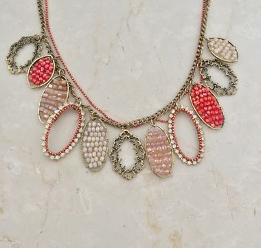 Coral bead ovals necklace