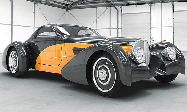 1937 Bugnotti Coupe Type 57S classic, but updated with a modern V12 under the hood. The sporty retro-styled car will even have power windows and A/C. @designerwallace