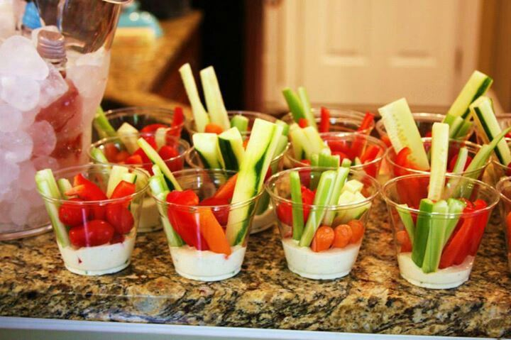 An idea: Baby shower food. But it's going to be too many people so really main thing I want carrots, celery and broccoli with ranch.