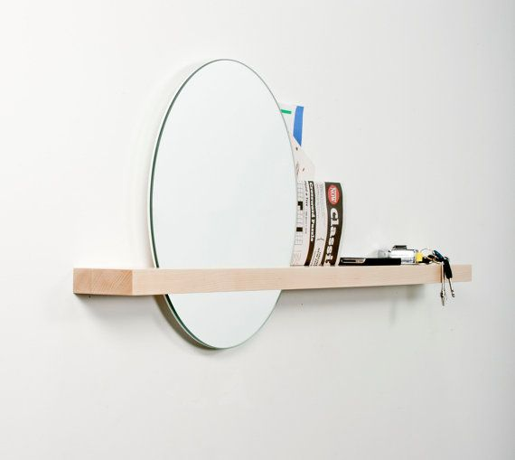 "Rise/Set Mirror, 18"" round mirror and solid wood shelf"