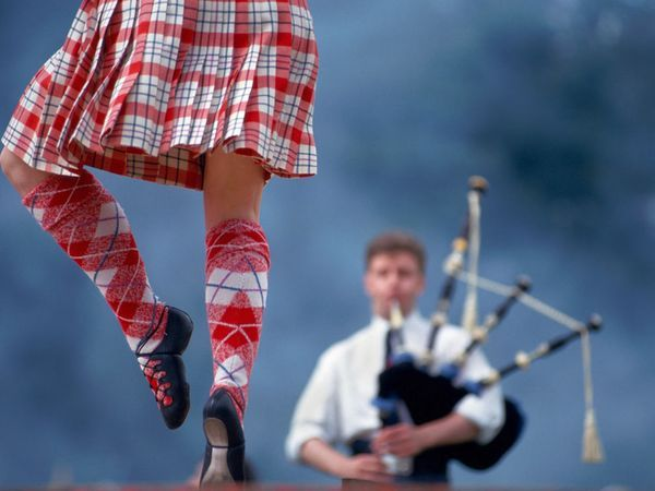 Traditionally performed by men, Scottish Highland dancing today is more often performed by women. Highland dancing involves vigorous exertion, precision positioning, and meticulous arm- and footwork. Bagpipers generally accompany the dancing, playing intricate tunes composed by a single family in the 16th century.