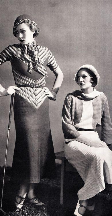 1930's fashions knit sportswear golfing walking outfits dress long stripes photo print ad models hat shoes