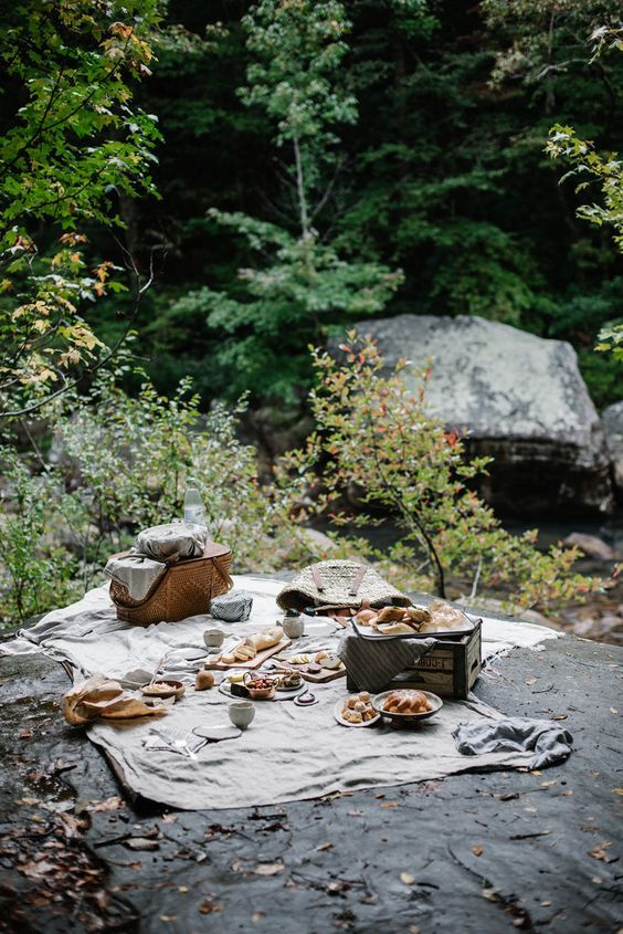 A beautiful forest-based picnic spot! Add style to your set up with beautiful hampers and a roomy blanket...